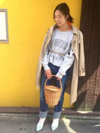 yu--kaさんの「スーピマ綿ライナー付ロングトレンチコート。(IENA|イエナ)」を使ったコーディネート