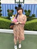 eemoさんの「【2WAY】花柄パネルプリントガウンワンピース(ViS シマムラ)」を使ったコーディネート