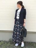 IKUmamaさんの「【再入荷】花柄スカート(TRUNO by NOISE MAKER|トルノバイノイズメーカー)」を使ったコーディネート