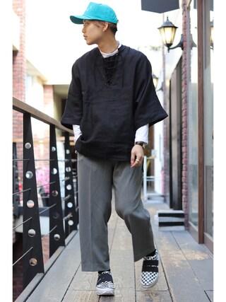 Ryusei Satoさんの「Name. x Tomo&Co CHECKERED SNEAKERS(Name.|ネーム)」を使ったコーディネート