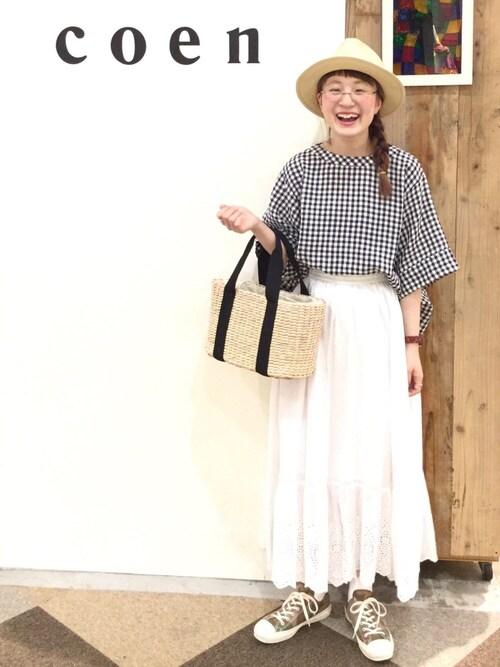 coen よこやまさんの「【Market】スカラップレースマキシスカート(coen)」を使ったコーディネート