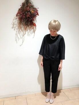 Dot&StripesCHILD WOMAN.atelier|24さんの「綾シャンタンフロッキードット ウエストリボンキモノスリーブプルオーバー(Dot&Stripes CHILD WOMAN)」を使ったコーディネート