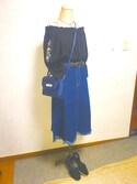 あやのんちゃさんの「スカラップフリンジヘムデニムフレアスカート615-9527(merlot|メルロー)」を使ったコーディネート