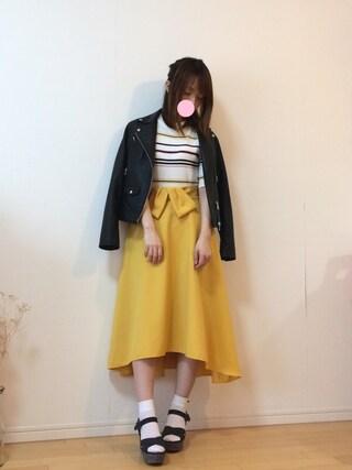 mikaさんの「◆KC SHEEPLEATHER ライダースジャケット(green label relaxing|グリーンレーベルリラクシング)」を使ったコーディネート