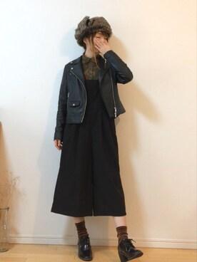 mikaさんの「◆KC SHEEPLEATHER ライダースジャケット(green label relaxing)」を使ったコーディネート