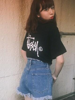 勝田里奈さんの「Basic Logo Boxy Tee(Stussy Women|ステューシーウィメン)」を使ったコーディネート