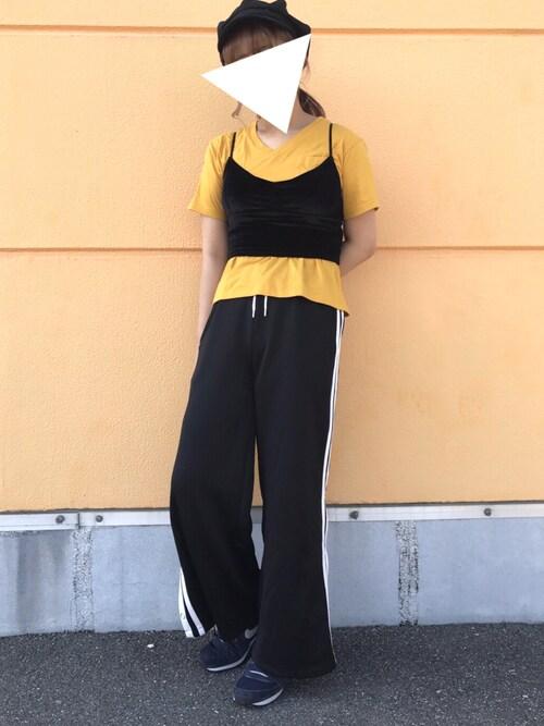 明穂さんの「WEGO/USAコットンVネックTシャツ(WEGO)」を使ったコーディネート