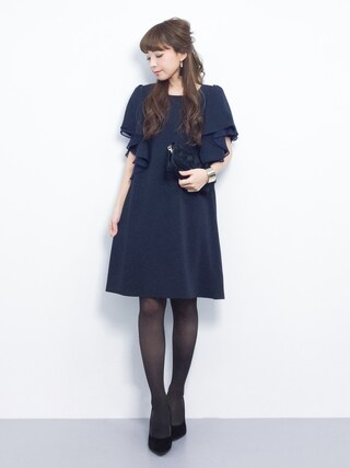 ZOZOTOWN ayumi ;)さんの「ギャザー入りボリューム袖フレアオープンショルダー2WAYワンピース(moca couture モカクチュール)」を使ったコーディネート