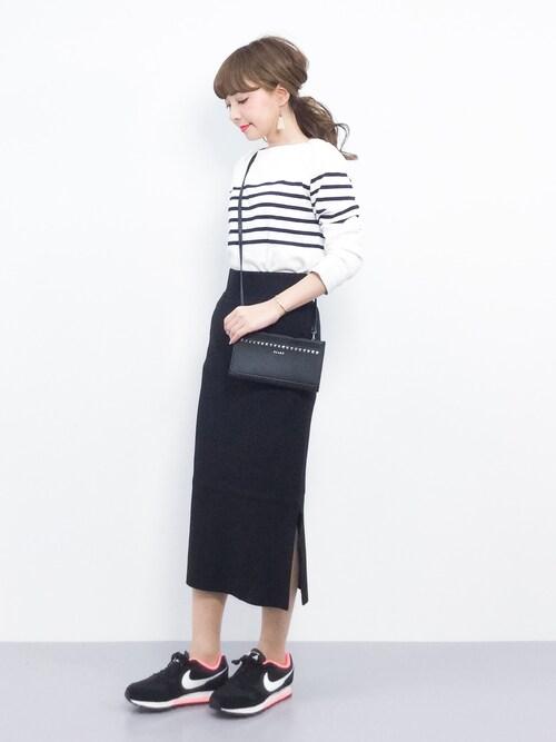 ayumi ;)さんの「FORK&SPOON Striped Boatneck Sweater(FORK&SPOON)」を使ったコーディネート