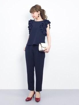 ZOZOTOWN|ayumi ;)さんの「《andGIRL3月号モデル美香さん着用アイテム》袖フリルパンツセットアップ《WEB限定カラーあり》(31 Sons de mode|トランテアン ソン ドゥ モード)」を使ったコーディネート