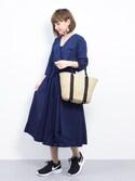 ayumi ;)さんの「女性らしいシルエット2wayカシュクールコットン100%五分袖ポケット付きガウンフレアワンピース(select MOCA|セレクトモカ)」を使ったコーディネート