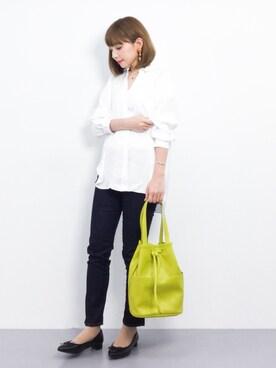 ZOZOTOWN ayumi ;)さんの「【洗濯機で洗える】ポリエステルバックサテン襟ワイヤーシャツ(AZUL ENCANTO アズールエンカント)」を使ったコーディネート