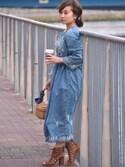 Taiyouさんの「インディゴ刺繍2wayガウンワンピース(FREAK'S STORE|フリークスストア)」を使ったコーディネート