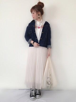 Alice*さんの「WOMEN シフォンプリーツスカート(UNIQLO|ユニクロ)」を使ったコーディネート