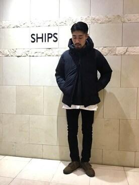 SHIPS 新宿店 吉原さんのパンツ「Lee: コーデュロイ スキニー パンツ(Lee リー)」を使ったコーディネート