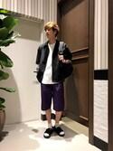 宮崎さんの「【吸水速乾】ワッフルロングカットソー5分袖/758775(RAGEBLUE|レイジブルー)」を使ったコーディネート