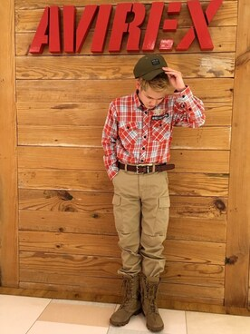 AVIREX  川崎|高橋和己さんのシャツ/ブラウス「avirex/ アヴィレックス / PATCHED CHECK SHIRT/ パッチド チェックシャツ(AVIREX|アヴィレックス)」を使ったコーディネート