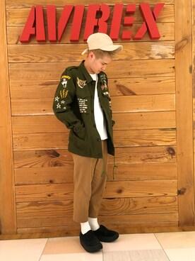 AVIREX 岡山|高橋和己さんのミリタリージャケット「avirex/ アヴィレックス / EMBROIDERY M-43 JACKET/ 刺繍 M-43 ジャケット(AVIREX|アヴィレックス)」を使ったコーディネート
