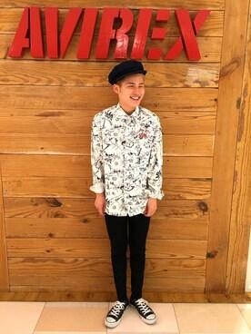 AVIREX  福岡|かずきさんのシャツ/ブラウス「avirex/アヴィレックス/ TYPE BLUE 長袖総柄デニムシャツ/L/S ALL OVER PRINT DENIM SHIRT(AVIREX|アヴィレックス)」を使ったコーディネート