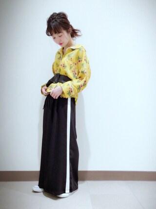 archives staff|まるこさんの「配色パイピングシャツ(archives|アルシーヴ)」を使ったコーディネート
