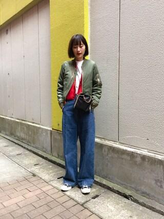 潮田あかりさんの「【Hanes/ヘインズ】ビーフィー 【2枚組】Tシャツ BEEFY-T(HANES|ヘインズ)」を使ったコーディネート