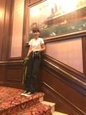 潮田あかりさんの「EMBROIDERED CLASSIC TEE/エンブロイダード クラシック ロゴTシャツ(MARC JACOBS マークジェイコブス)」を使ったコーディネート