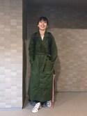 潮田あかりさんの「<H>COTTON MOLE SKIN MILITARY LONG COAT/コートо(H BEAUTY&YOUTH UNITED ARROWS|ハイク)」を使ったコーディネート