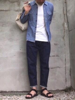 すまいるんさんの「【Hanes/ヘインズ】ジャパンフィット JAPAN FIT 【2枚組】クルーネックTシャツ(HANES ヘインズ)」を使ったコーディネート