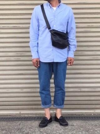 すまいるんさんの「MEN オックスフォードスリムフィットシャツ(長袖)+(ユニクロ ユニクロ)」を使ったコーディネート