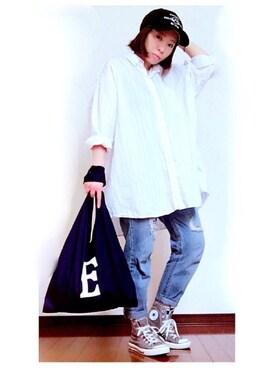 YOSHIKOさんの「converse コンバース CANVAS_ALL_STAR_HI キャンバス オールスター ハイ 32066761 CHARCOAL(CONVERSE|コンバース)」を使ったコーディネート