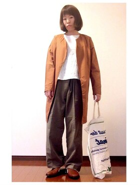 YOSHIKOさんの「ラペルドカーディガン+インナーカットソー(SHOO・LA・RUE シューラルー)」を使ったコーディネート