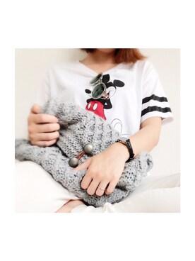 YOSHIKOさんの「ユニクロミッキーTシャツ(UNIQLO|ユニクロ)」を使ったコーディネート