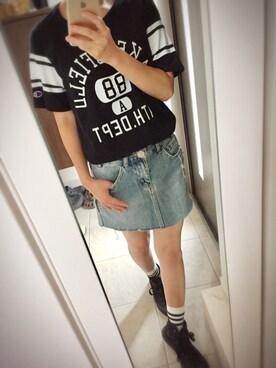 chiviさんの「【Champion/チャンピオン】フットボールTシャツ(Champion)」を使ったコーディネート