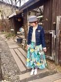 サトミィさんの「ガーデンパーティプリントスカート(peu pres プープレ)」を使ったコーディネート