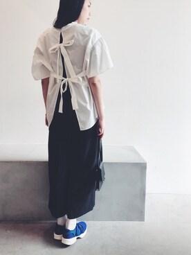 JEANASIS ららぽーとTOKYO-BAY|古屋美咲さんのシャツ/ブラウス「ギンガムバックリボンSS/752227 (JEANASIS|ジーナシス)」を使ったコーディネート