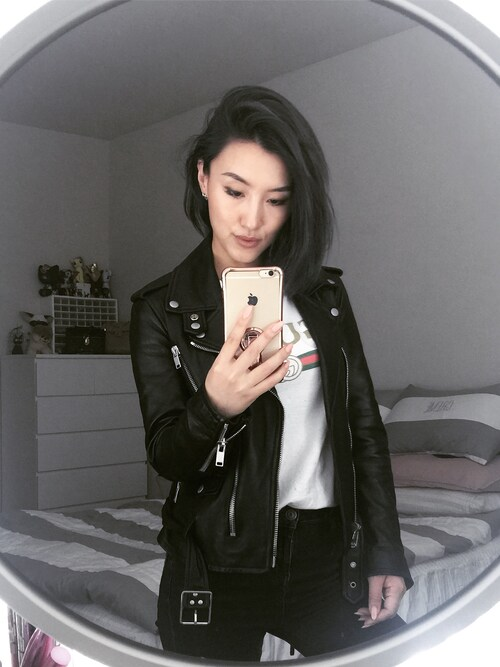 「Saint Laurent Slim-Fit Leather Motorcycle Jacket(Saint Laurent)」 using this Gigi Lam looks