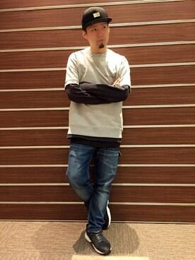 AVIREX  福岡|HONDAさんのTシャツ/カットソー「【直営店限定】 S/S USA SWEAT T-SHIRT/ アメリカ製 スウェット Tシャツ/ Made in U.S.A(AVIREX|アヴィレックス)」を使ったコーディネート