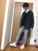 マイコーさんの「MEN ラムVネックセーター(長袖)(ユニクロ|ユニクロ)」を使ったコーディネート