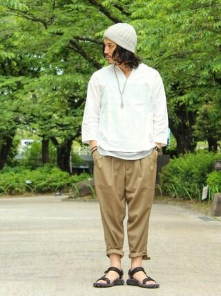 Deco®︎さんの「mp5191-Stripe Tuck Wide Tapered Pants パンツ(CAMBIO カンビオ)」を使ったコーディネート