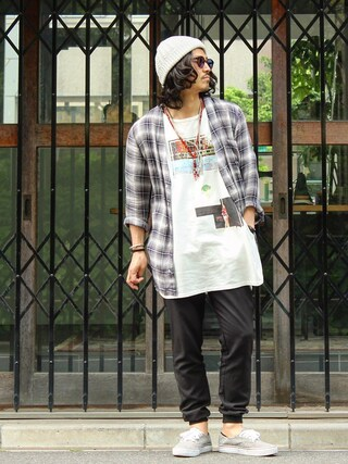 Deco®︎さんの「Revo. ノーカラー ロング チェックシャツ(Revo. レボ)」を使ったコーディネート