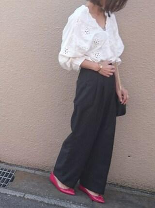Ayaさんの「【2017SS先行予約】【WEB限定カラー】パンチングレースボリューム袖ブラウス(ViS|ビス)」を使ったコーディネート