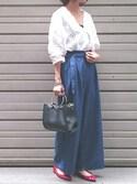 Ayaさんの「【WEB限定カラー】パンチングレースボリューム袖ブラウス(ViS|ビス)」を使ったコーディネート