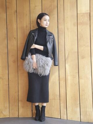西本早希さんの「レザーライダースジャケット2016(kaene|カエン)」を使ったコーディネート