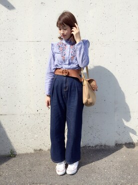 eikoさんの「【GISELe4月号掲載】フラワー刺繍入りスタンドフリルカラーフロント&バッグフリルストライプブラウス(select MOCA|セレクトモカ)」を使ったコーディネート