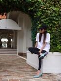 chiiiiさんの「レディース アディダス ストライプ レギンス adidas WMNS 3STRIPES LEGGINGS AJ8156(adidas|アディダス)」を使ったコーディネート