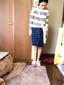twinzer94さんの「前開きスリットデニムペンシルスカート(ANDJ|アンドジェイ)」を使ったコーディネート