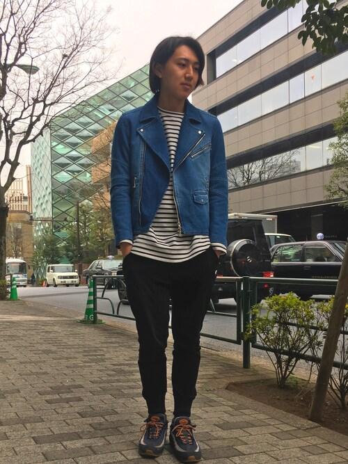 """hiromu is wearing GUILD PRIME """"【GUILD PRIME】MENS ニットデニムダブルライダース"""""""