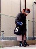 いく☆さんの「ケーブルフリンジポンチョ(TODAYFUL|トゥデイフル)」を使ったコーディネート