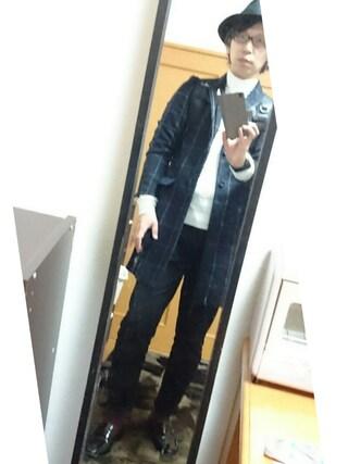 まっきーさんの「MEN コットンカシミヤケーブルクルーネックセーター(長袖)(ユニクロ|ユニクロ)」を使ったコーディネート
