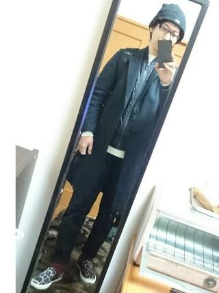 まっきーさんの「MEN カシミヤクルーネックセーター(長袖)(ユニクロ|ユニクロ)」を使ったコーディネート